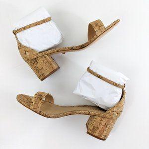 Schutz Chimes Natural Cork Block Heel Sandals NEW